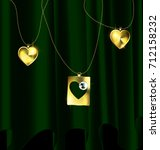 Dark Background  Green Drape...