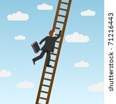 businessman climbing ladder ... | Shutterstock .eps vector #71216443