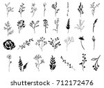 vector set of hand drawn leaves ... | Shutterstock .eps vector #712172476