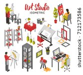 art studio isometric set with... | Shutterstock . vector #712173586