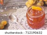 preserves white grapes in glass ... | Shutterstock . vector #712190632