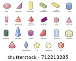 basic 3d geometric shapes... | Shutterstock .eps vector #712213285