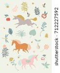 running unicorns | Shutterstock .eps vector #712227592