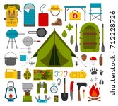 camping and hiking outdoor... | Shutterstock . vector #712228726