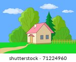 summer landscape  toy small... | Shutterstock . vector #71224960