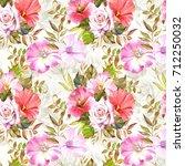 watercolor flowers background | Shutterstock . vector #712250032