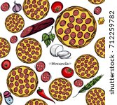seamless pattern with a picture ... | Shutterstock .eps vector #712259782