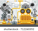 industrial machinery factory... | Shutterstock .eps vector #712260352