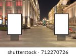 blank street billboard at night ... | Shutterstock . vector #712270726