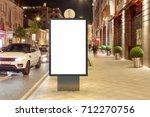 blank street billboard at night ... | Shutterstock . vector #712270756