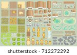 vector set. green farm.  top... | Shutterstock .eps vector #712272292