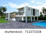 3d modern house rendering... | Shutterstock . vector #712272328