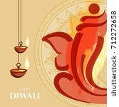 happy diwali wallpaper design... | Shutterstock .eps vector #712272658