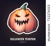 halloween pumpkin sticker....   Shutterstock .eps vector #712276315