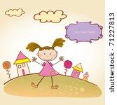 happy little girl background | Shutterstock .eps vector #71227813