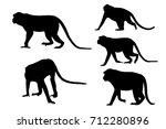 Silhouette Image Of Monkeys On...