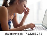 young woman feeling tired ... | Shutterstock . vector #712288276
