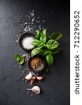 fresh basil   garlic cloves and ... | Shutterstock . vector #712290652