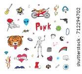 punk doodle cartoon funny... | Shutterstock .eps vector #712294702