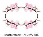 full bloom sakura flower tree... | Shutterstock .eps vector #712297486