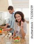 woman eating while her husband... | Shutterstock . vector #71230159