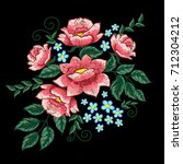 dog roses and blue flowers... | Shutterstock .eps vector #712304212