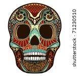 skull ornament  colored  | Shutterstock .eps vector #71230510