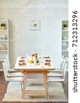 empty room with served...   Shutterstock . vector #712313296