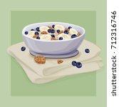 oatmeal breakfast vector hand... | Shutterstock .eps vector #712316746