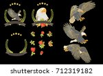 vector set hand painted eagle... | Shutterstock .eps vector #712319182