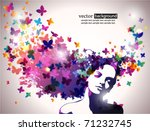 woman with butterfly. | Shutterstock .eps vector #71232745
