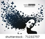 woman with butterfly. | Shutterstock .eps vector #71232757