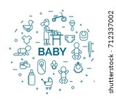 lettering of baby concept with... | Shutterstock .eps vector #712337002