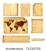 set of old paper sheets and old ... | Shutterstock .eps vector #71233753