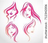set of vector  logo women face...   Shutterstock .eps vector #712342006