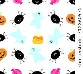 seamless tiling halloween... | Shutterstock . vector #712360975