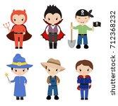 happy halloween. set of cute... | Shutterstock .eps vector #712368232
