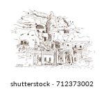 hand drawn sketch of cappadocia ...   Shutterstock .eps vector #712373002