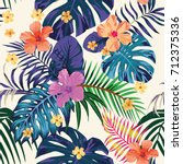 tropical abstract color print.... | Shutterstock .eps vector #712375336