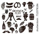 oktoberfest beer festival. set... | Shutterstock .eps vector #712378186