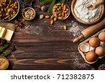 christmas food background....   Shutterstock . vector #712382875