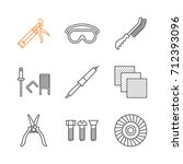 construction tools linear icons ... | Shutterstock .eps vector #712393096