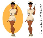 sexy black nurse in a... | Shutterstock .eps vector #712394056