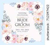 vintage wedding invitation | Shutterstock .eps vector #712397422