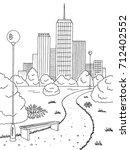 park graphic black white bench... | Shutterstock .eps vector #712402552