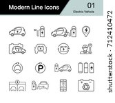 electric car icon set 1. hybrid ... | Shutterstock .eps vector #712410472