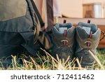 trekking boots near the... | Shutterstock . vector #712411462