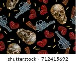 embroidery skulls  hearts and... | Shutterstock .eps vector #712415692
