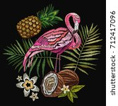 embroidery flamingo  palm tree... | Shutterstock .eps vector #712417096