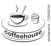sign  icon for cafe. a cup of...   Shutterstock .eps vector #712420216